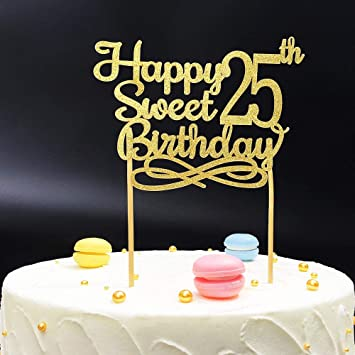 Gold Happy Sweet 25th Birthday Cake TopperGold Paper Topper Party