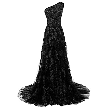Fashionbride Appliques Tulle One Shoulder Formal Dresses for Women Evening Gowns Long ED45 Black-US2