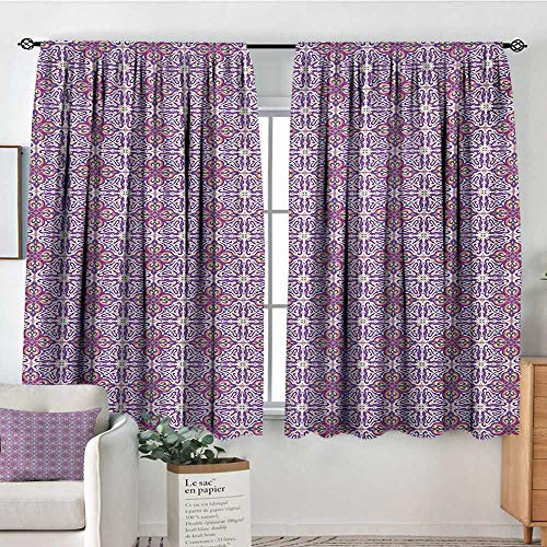 All of better Vintage Room Darkening Curtains Abstract Oriental Floral Motifs Antique Hand Tile Design Repeating Pattern Door Curtain Blackout 72