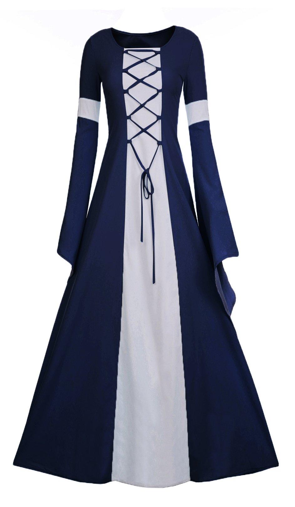 Meilidress Women Medieval Dress Lace up Vintage Floor Length Cosplay Retro Long Dress (Medium, Navy Blue)