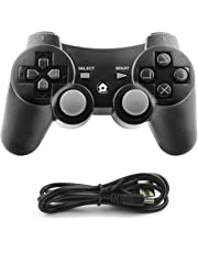 Diswoe PS3 Controller, Wireless Bluetooth Gamepad Double Vibration Six-Axis Remote Joystick for Playstation 3
