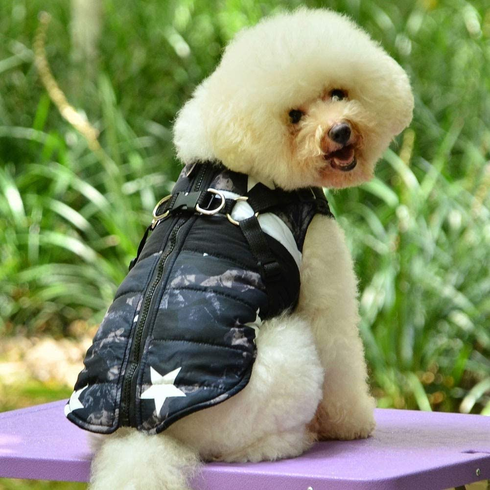 Polka dot Girls RUIBUY Dog Clothes Jacket Coat Veste Harness with Harness no Choke Puppy Small Medium Breed Comfort Fit for Running in Cold Weather Style Camouflage Boys