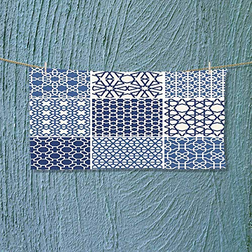Nalahome Hiking Towel Collection Arabesque Islamic Motifs with Geometric Lines Asian Ethnic Muslim Ottoman Element Blue Resort,Hotels/Motels,Gym use L39.4 x W9.8 inch by Nalahome