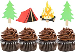 LaVenty Set of 24 Camping Cupcake Toppers Camping Birthday Party Decor Woodlands Party Decor Happy Camper Party Decor Lumberjack Party Decor One Happy Camper Theme Birthday Picks Camp Party Decorations Tent Topper