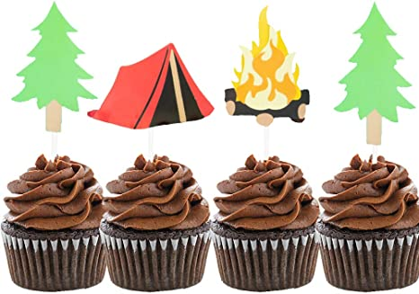 Peachy Amazon Com Laventy Set Of 24 Camping Cupcake Toppers Camping Birthday Cards Printable Opercafe Filternl