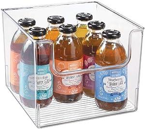 "mDesign Plastic Open Front Food Storage Bin for Kitchen Cabinet, Pantry, Shelf, Fridge/Freezer - Organizer for Fruit, Potatoes, Onions, Drinks, Snacks, Pasta - 10"" Wide - Clear"