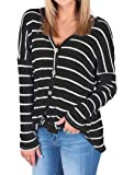 Halife Womens Knit Tunic Blouse Tie Knot Henley Tops Loose Fitting Bat Wing Striped Shirts
