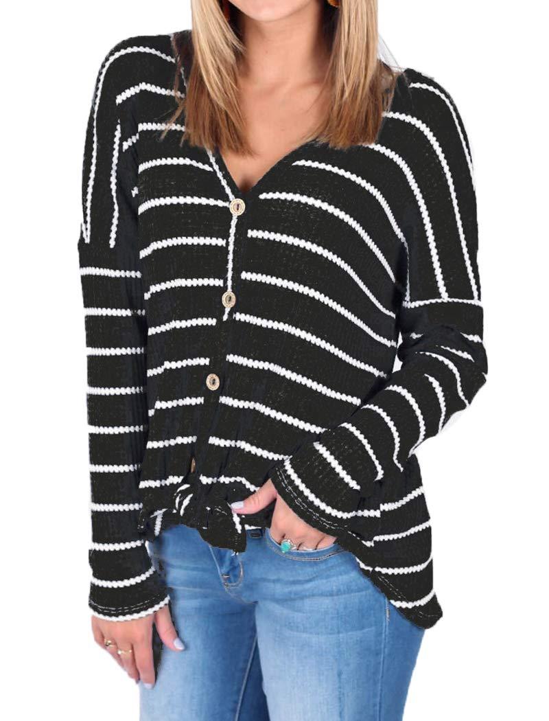 0d0ea3551c9 Halife Womens Loose Long Sleeve v Neck Button Down Henley Shirts Black L