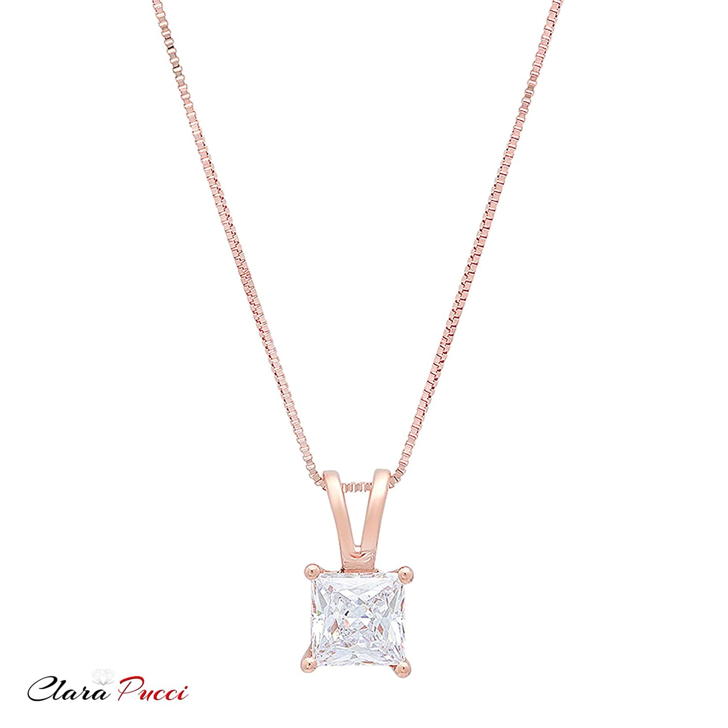 Clara Pucci 0.8 CT Princess Cut CZ Solid 14K Rose Gold Solitaire Pendant Box Necklace 16 Chain