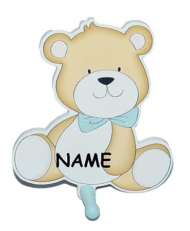 Garderobenhaken incl. Namen - Teddybär - \