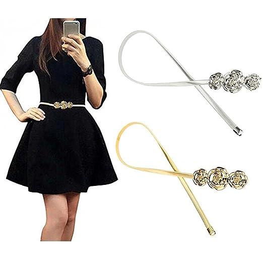 VITORIA S GIFT Vintage Womens Waist Belt Elastic Belt Stretch Waist Strap  Cummerbund Leaf Design Clasp Stretch 89273d67e