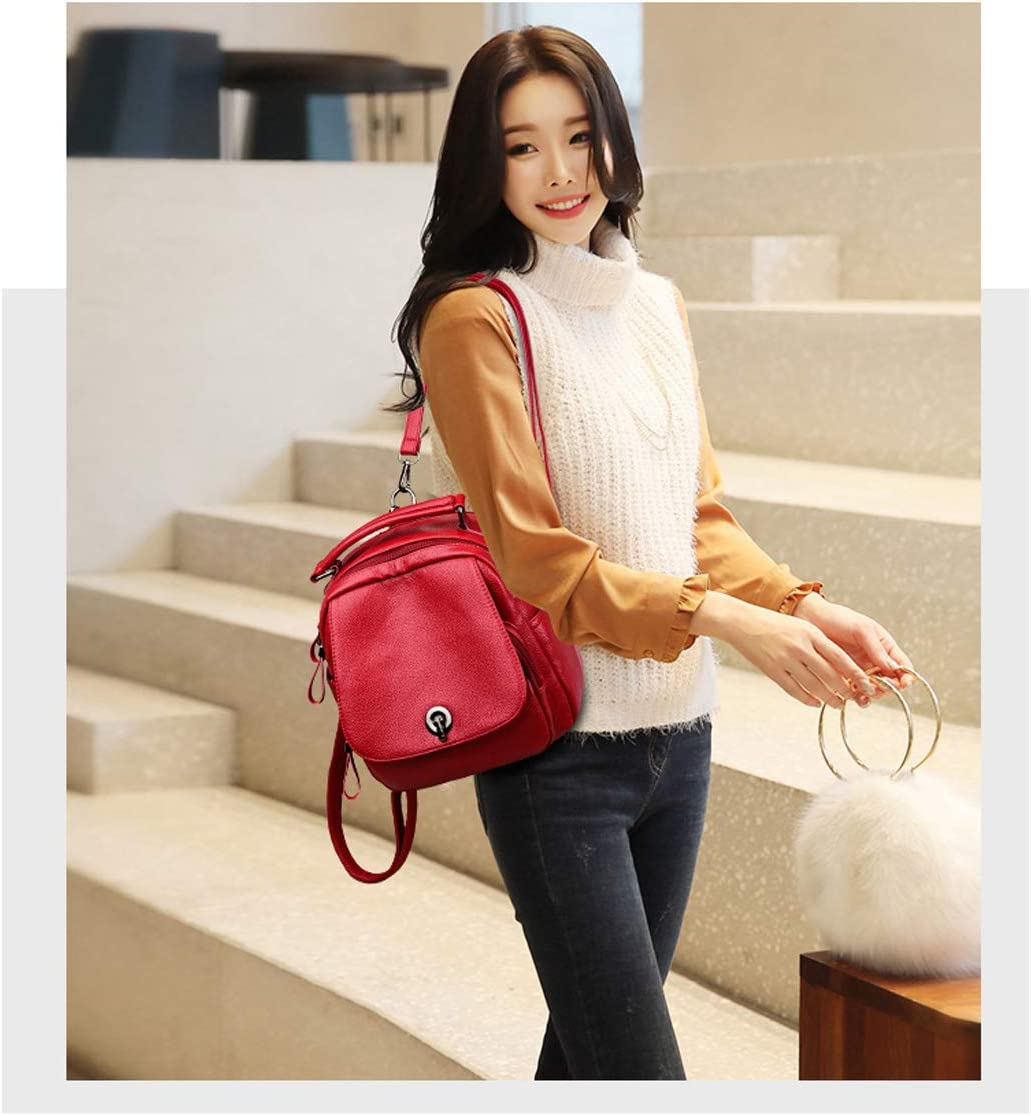 PU Leather Muziwenju Girls Multifunctional Backpack for Daily Travel//Tourism//School//Work//Fashion//Leisure Color : Brown, Size : 23cm23cm12cm Mini Simple Latest Models Black//Brown//red