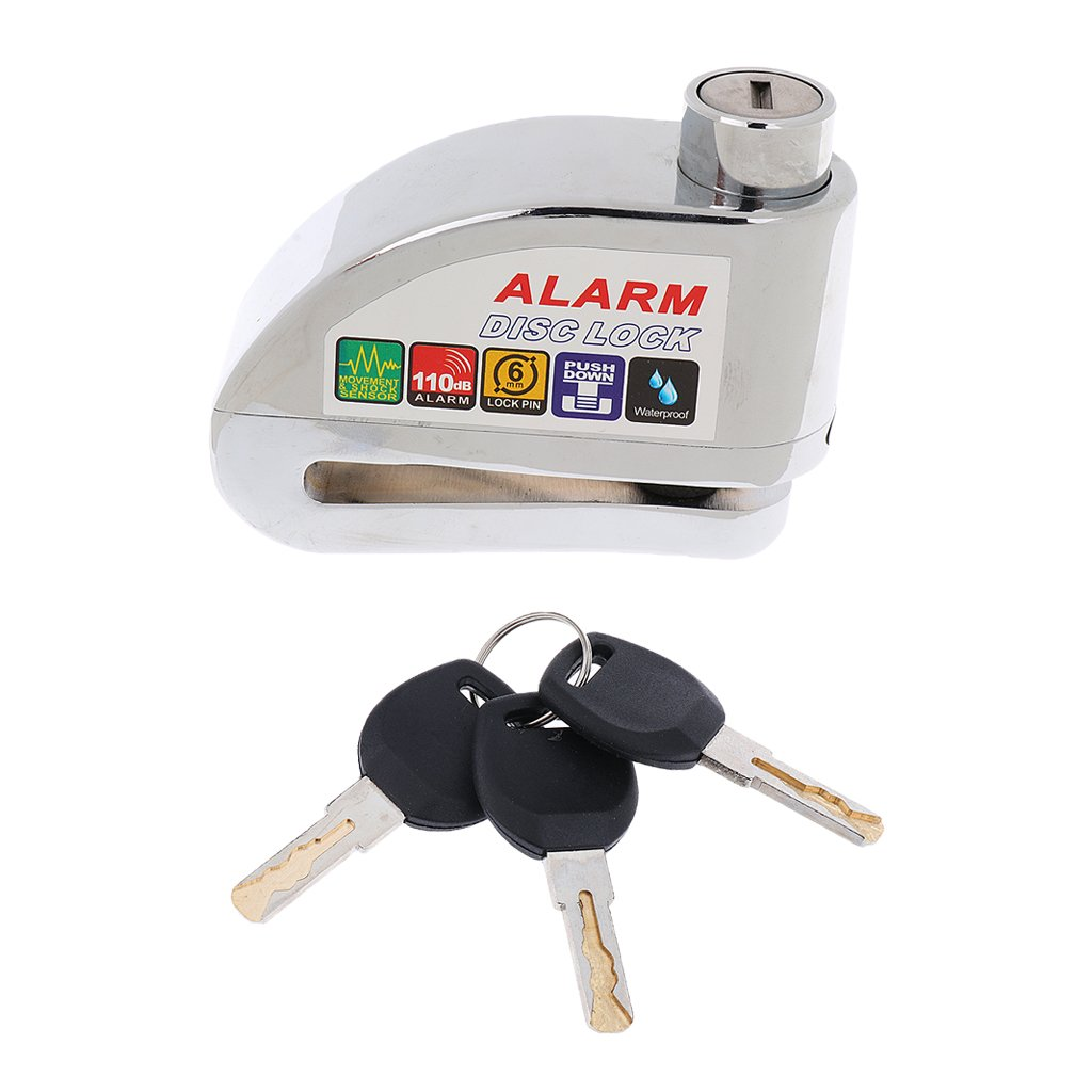 Generic Generic Wheel Disc Lock Alarm Movement& Shock Sensor Motorcycle Bike Scooter Silver