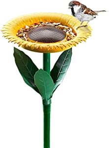 OKORAY Wild Bird Feeder Bath Outside - Ideal Gift for Nature Bird Lover, Ground Fasten Bird Food Water Feeding Container for Garden Backyard Balcony Outdoor Home Decoration Kid Gift Surprise