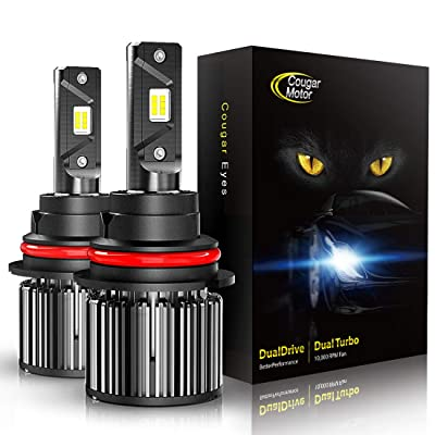 Cougar Motor 9007 LED Headlight Bulbs, High/Low All-in-One Conversion Kit, 10000 Lumen (6000K Cool White) - Adjustable Beam Pattern: Automotive