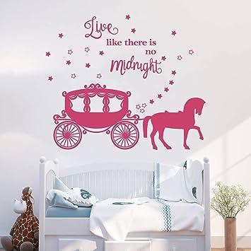 decalmile Princesse Cheval Le Chariot Stickers Muraux Bébé Fille ...