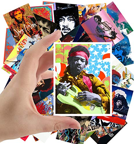 "Large Stickers (24pcs 2.5""x3.5"") JIMI HENDRIX Posters Photos Vintage Magazine covers Rock Music Classic"