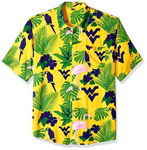 (NCAA West Virginia Mountaineers Foco Floral Button Up Shirt, Team Color, Large)
