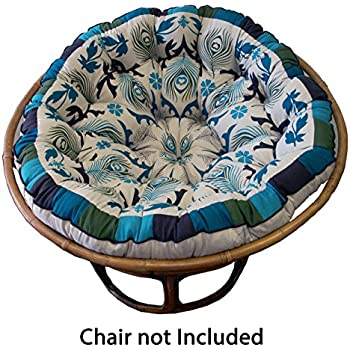 Cotton Craft Papasan Peacock Blue Overstuffed Chair Cushion, Sink Into Our  Comfortable Papasan, Thick And Oversized, Pure 100% Cotton Duck Fabric, ...