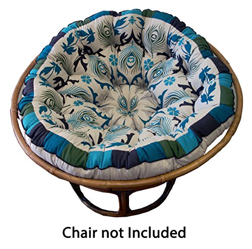 Cotton Craft Papasan Peacock Blue Overstuffed Chair Cushion, Sink into our comfortable Papasan, Thick and Oversized, Pure 100% Cotton duck fabric, Fits Standard 45 inch Round Chair, Chair not included (Furniture Cushions Pier 1 Patio)