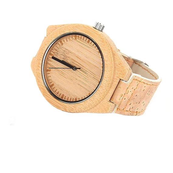 Reloj Hecho a Mano de Corcho Natural con bambú, Reloj Vegano Unisex para Hombres y