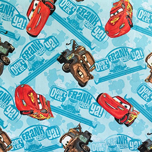 100% Cotton Print Disney's Cars 45 Inch Wide Fabric by the Yard (F.E.®)