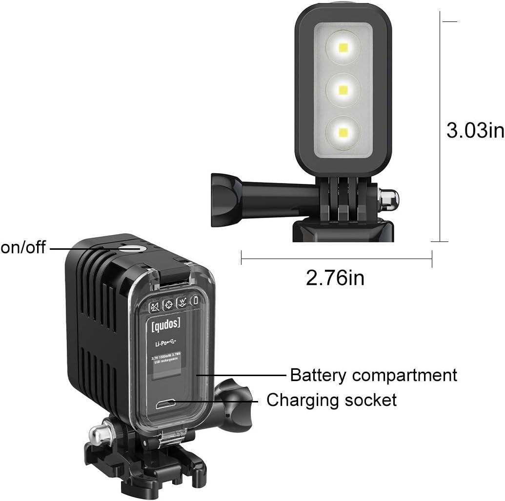 Hongdak Diving Light High Power Dimmable Waterproof LED Video Fill Night Light for GoPro 8 7 6 5 5S 4 4S 3+//3//2 SJCAM// Xiaoyi Action Cameras etc. Underwater Lights Dive Light for Gopro 147ft 45m