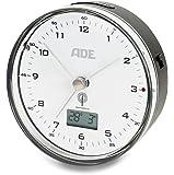 ADE Funkwecker CK 1713. Geräuschloser Wecker ohne Ticken mit analoger Zeitanzeige, Thermometer, Datum und Snooze-Funktion. 8,2 cm Durchmesser. Mit Batterie. Farbe: Schwarz-Weiß