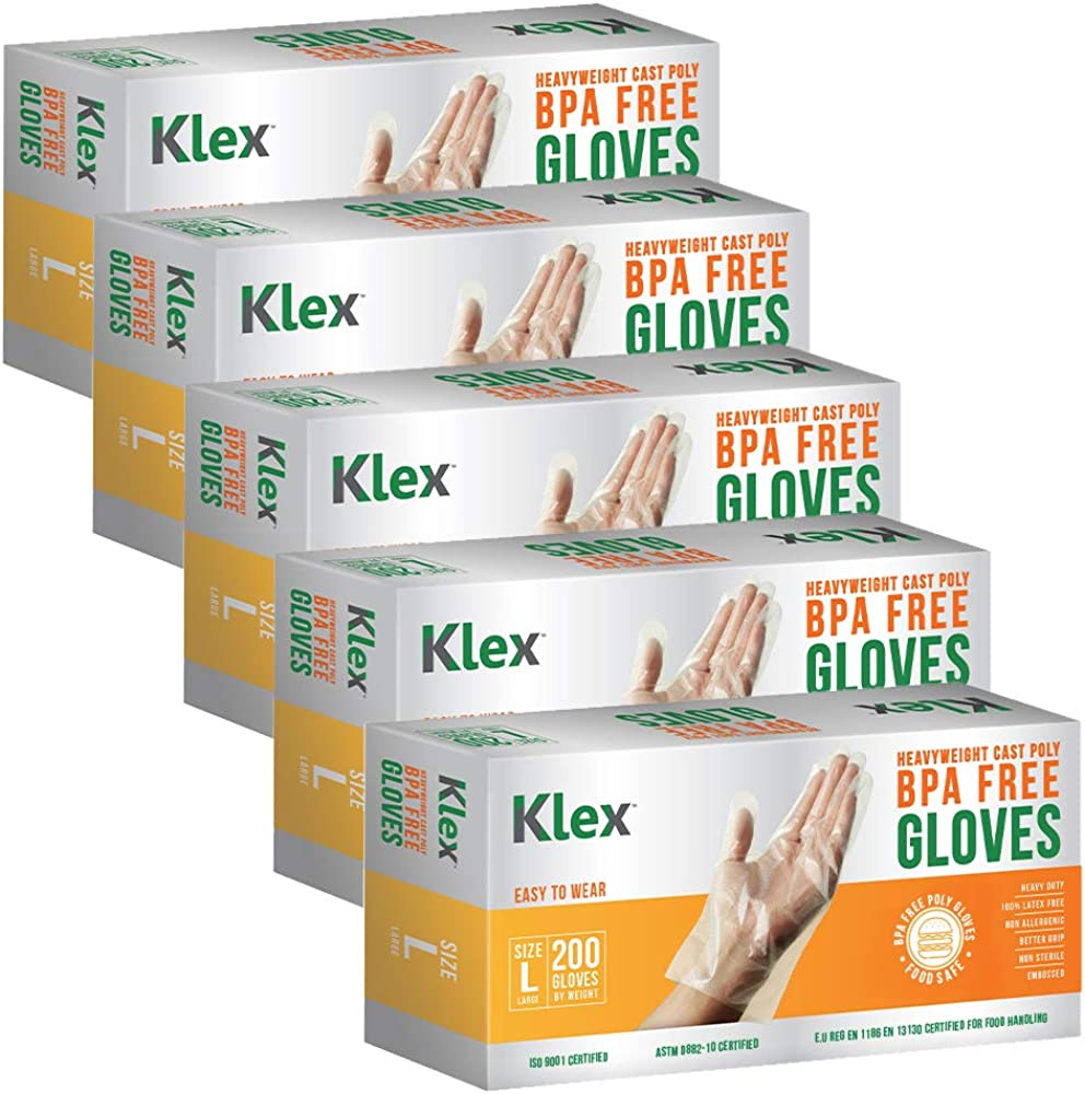 KLEX 1000 Heavyweight Cast Poly Disposable Kitchen Gloves Large, BPA Free, Food Grade