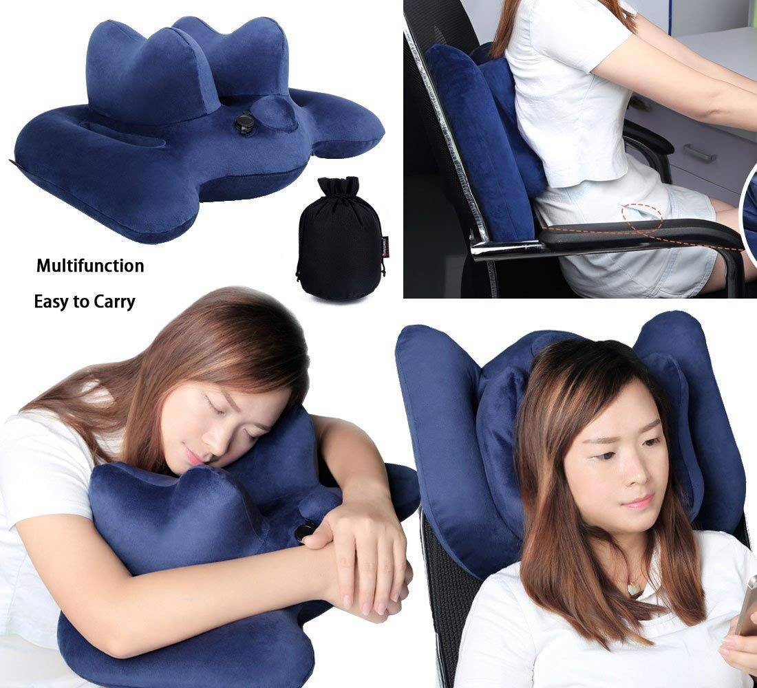 (Navy Blue) - Office Nap Pillow Travel Pillow Inflatable Pillow Waist Pillow Lumbar Support Back Cushion Pillow Office Chair and Car Aeroplanes Trains  ネイビーブルー B0725SDP9Q