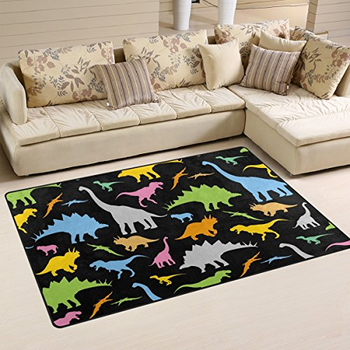 WOZO Colorful Dinosaur Black Area Rug Rugs Non-Slip Floor Mat Doormats Living Room Bedroom 60 x 39 inches