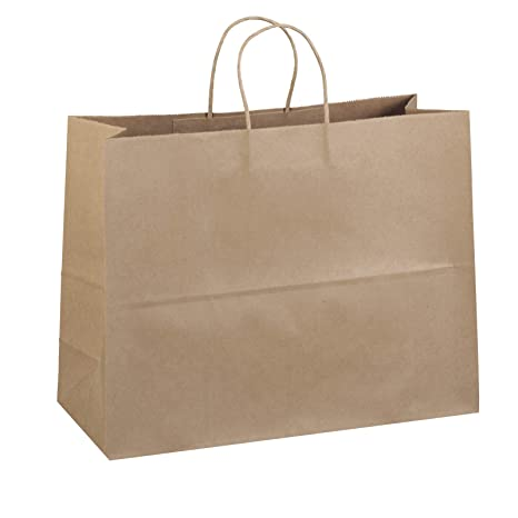 29e8a8b0dc8 Amazon.com  50 Paper Retail Shopping Bags KRAFT with Rope Handles 16x6x12  TOTE  Kitchen   Dining