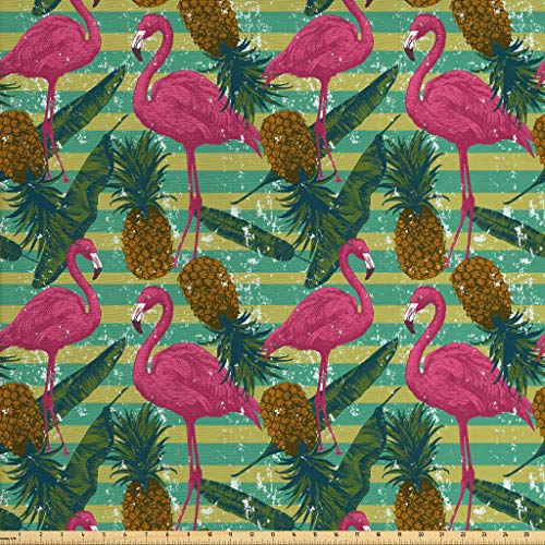 (Ambesonne Flamingo Fabric by The Yard, Tropical Animals on Striped Background with Pineapples Banana Leaves Grunge Look, Decorative Fabric for Upholstery and Home Accents, 1 Yard, Multicolor)