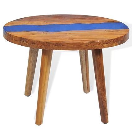 Charmant Festnight Vintage Round Coffee Table Teak Resin 23.6u0026quot; ...