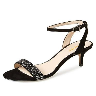 cf6a4e0c7815 XYD Women Open Toe Ankle Strap Slingback Sandals Strappy Kitten Heel  Rhinestone Studded Buckle Dress Pumps
