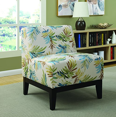 Coaster Home Furnishings 902614 Leaves Print Accent Chair, Blue/Green For Sale