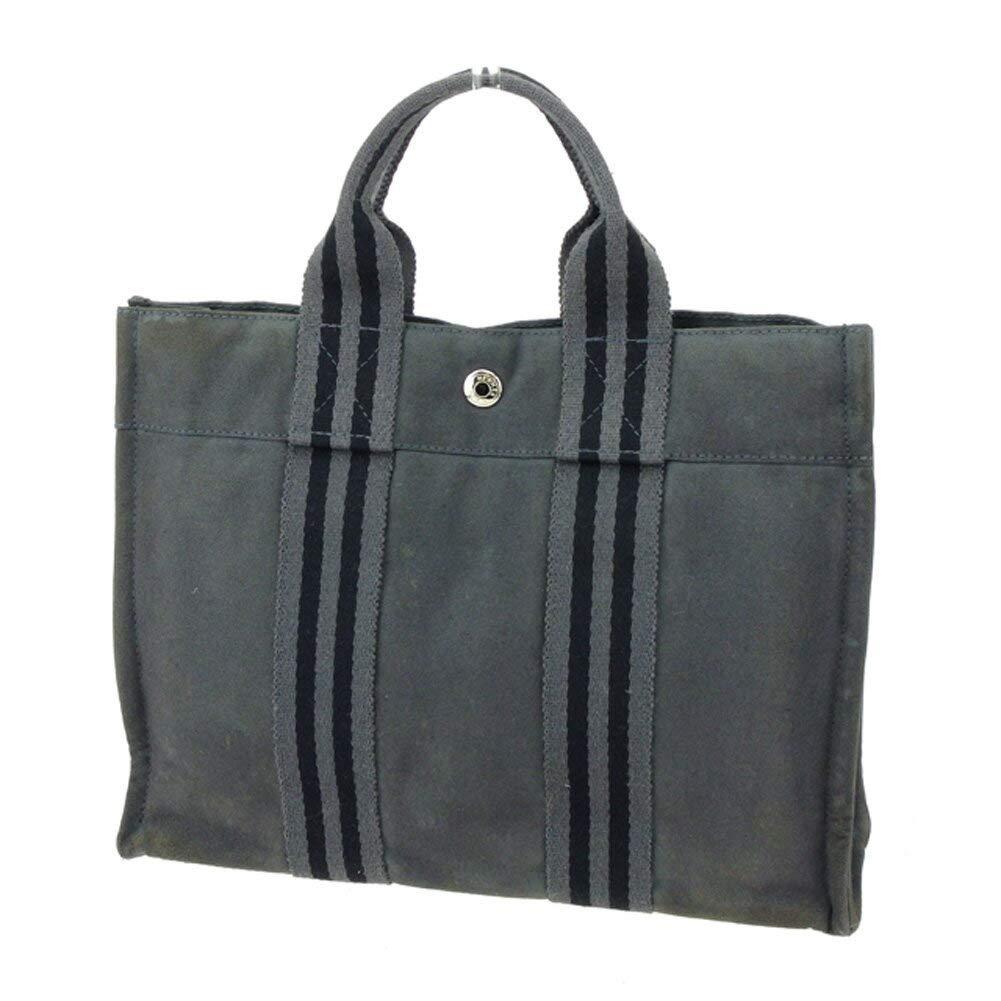 (エルメス) Hermès トートバッグ フールトゥ グレー 灰色 ブラック レディース メンズ 中古 E1390   B07KY95N8L