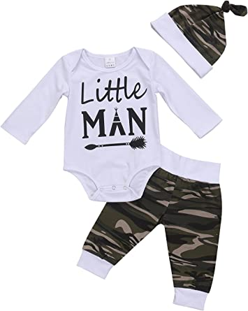 Infant Baby Boys Clothes 3PCS Casual Letter Print Romper Tops+Pants+Hat Outfits