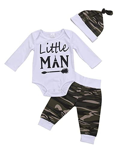3PCS Newborn Baby Boys Cute Letter Print Romper+Camouflage Pants+Hat Outfits Set (0-6 M, Camouflage)