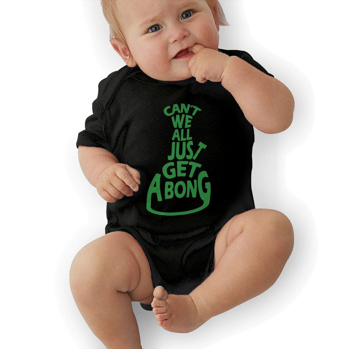U88oi-8 Short Sleeve Cotton Rompers for Baby Girls Boys Cute Cant We All Just Get A Bong Jumpsuit