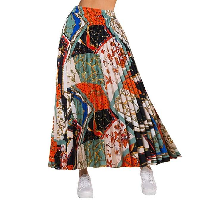 Faldas Mujer Verano Contrast A-Line Falda Falda Estampada Vestido ...