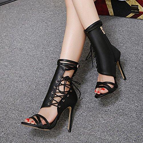 Donna da Artificiale Romano Alto con Donna Sexy con Tacco Sandali Cinturino Col Pelle da Caviglia Alla Nero SOMESUN Tacco Sandali Fibbia BT0IUqZ