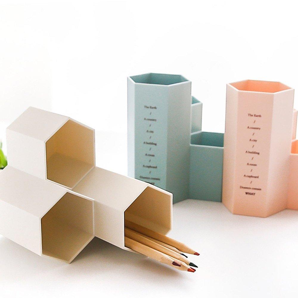 creativo vaso esagonale YA-Uzeun contenitore multiuso in plastica per penne decorazione da scrivania blue