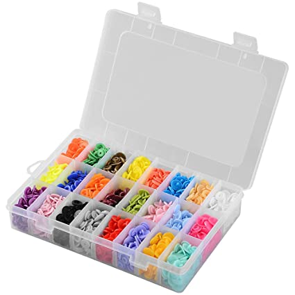 24 Colours, with Organizer Storage Box Asiv 360 Set T5 Plastic Buttons Snap Fasteners