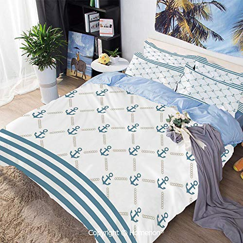 Bedding Sheets Set 3-Piece Bed Set,Blue Stripes Frame with Abstract Stripes and Chain Figures Symmetrical Pattern Decorative,Queen Size,Include 1 Quilt Cover+2 Pillow case,Pale Blue -
