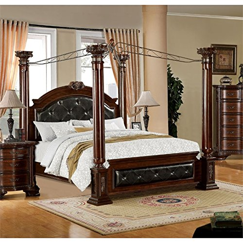 BOWERY HILL King Poster Canopy Bed in Brown ()