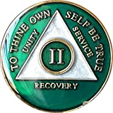 2 Year AA Medallion Metallic Green Tri-Plate Gold Plated Chip II