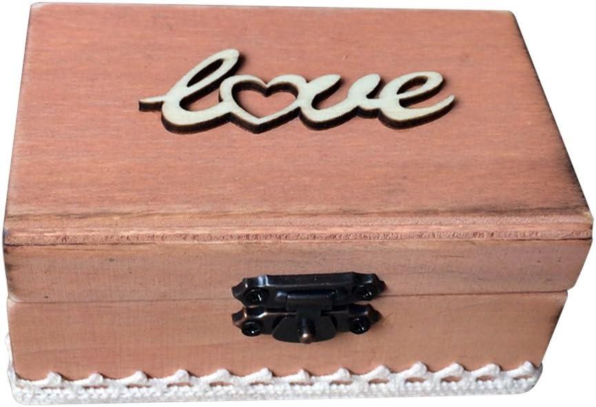 TOPBATHY Caja de Madera de Anillos de Novios Cajas de Madera para Decorar para Fiesta Ceremonia de Boda Vintage Caja de Joyería con Patron de Love: Amazon.es: Hogar