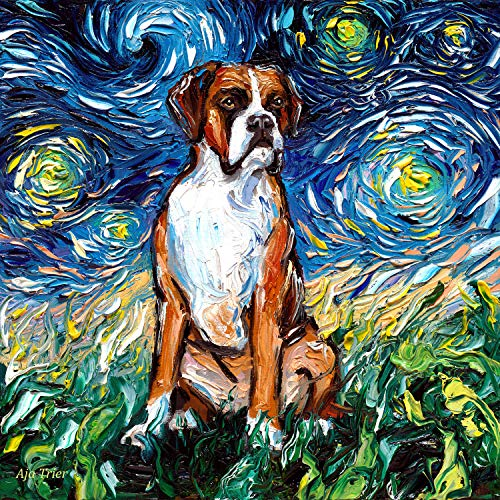 Starry Night Boxer Dog Art by Aja pet artwork choose size and type of paper ()
