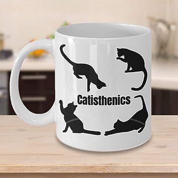 Catisthenics - Taza de regalo para amantes de los gatos, gatos, madres, gatos